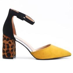 Sandale jaune à talon imprimé léopard