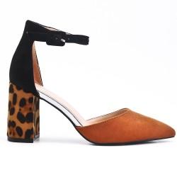 Sandale camel à talon imprimé léopard