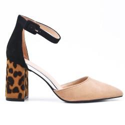 Sandale beige à talon imprimé léopard