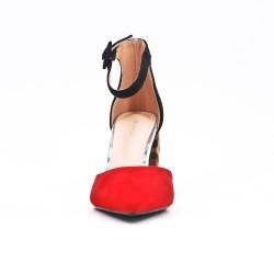 Sandale rouge à talon imprimé léopard