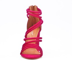 Fuchsia faux suede round heel sandal