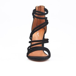 Sandale noire en simili daim à talon rond