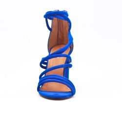 Sandale bleu en simili daim à talon rond