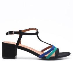 Sandale tricolore en simili daim