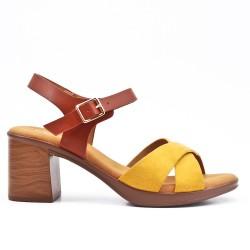 Sandale bimatière jaune à talon