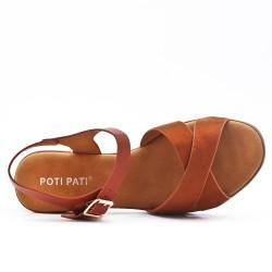 Sandale bimatière camel à talon