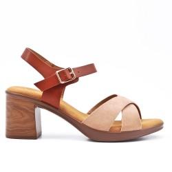 Sandale bimatière beige à talon
