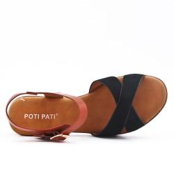 Sandale bimatière noire à talon