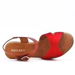 Sandale bimatière rouge à talon