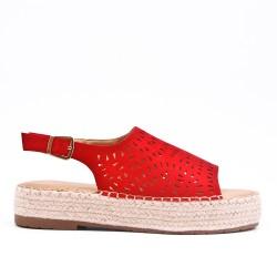 Sandale rouge à semelle espadrille