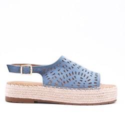 Sandale bleu à semelle espadrille
