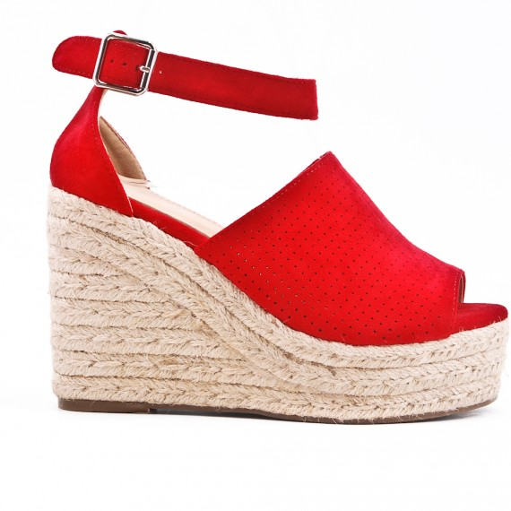 122875d68bd Red Wedge sandal with espadrille sole