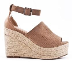 Sandale compensée kaki à semelle espadrille