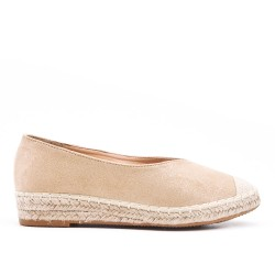 Khaki espadrille in faux suede