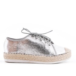 Silver espadrille with lace