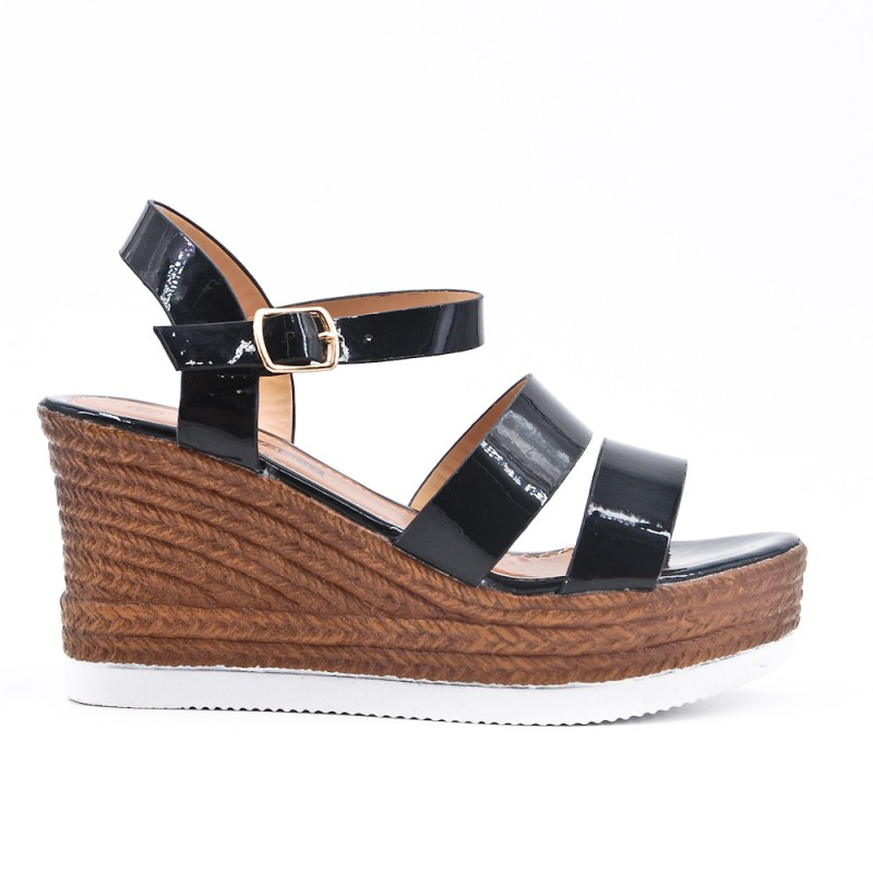 Sandale En Vernis Compensée Noire 4RA35qjL