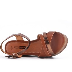Brown wedge sandal in faux leather