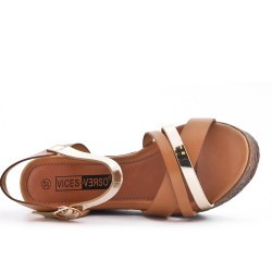 Camel wedge sandal in faux leather