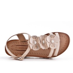 Beige sandal with comfort sole