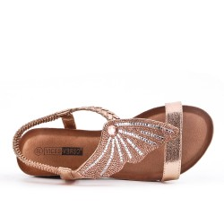 Champagne wedge sandal with comfort sole
