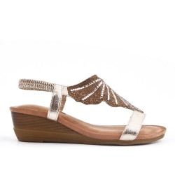 Golden wedge sandal with comfort sole