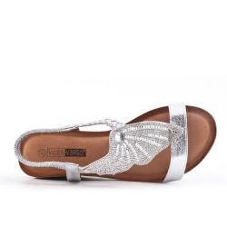 Silver wedge sandal with comfort sole