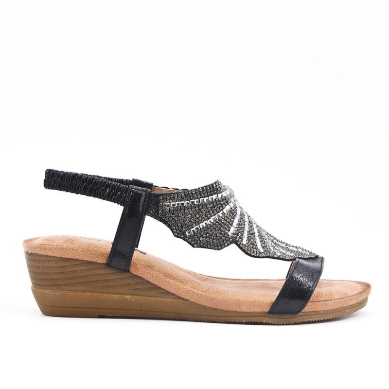 Semelle Compensée Sandale À Noire Confort tsrxCBQdh