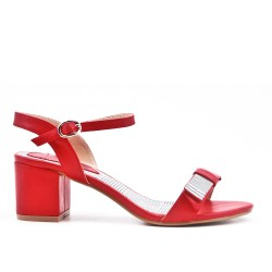 Red imitation leather sandal with heel