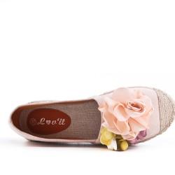 Espadrille rose à fleurs