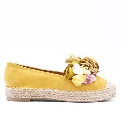 Espadrille jaune à fleurs