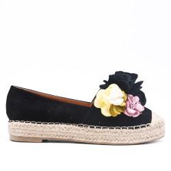 Espadrille noire à fleurs