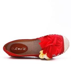 Espadrille rouge à fleurs
