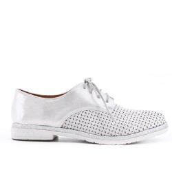 Silver faux leather lace-up Derby