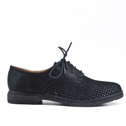 Black faux leather lace-up derby