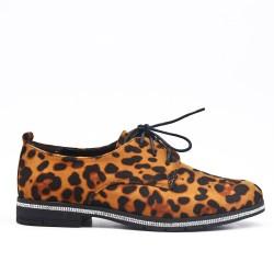 Derby léopard en simili daim à lacet