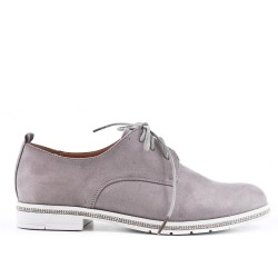Gray Derby in faux suede with lace