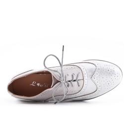 Richelieu bi-material silver lace