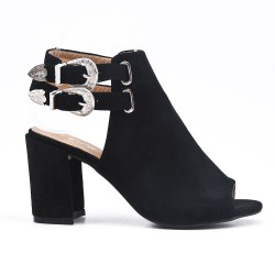 Black open ankle boot in faux suede