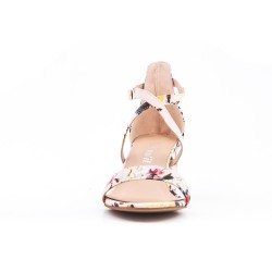 Sandale imprimée fleurie à talon