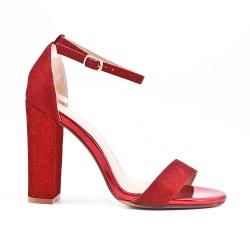 Sandale rouge brillant à talon haut