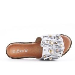 Claquette plate argent ornée de perles