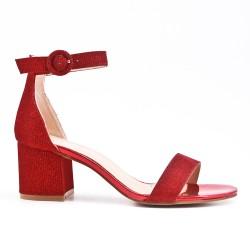 Sandale rouge brillant à talon