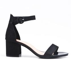 Sandale noire brillant à talon