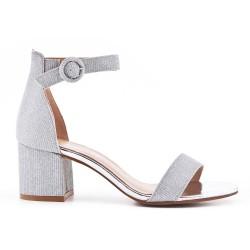Sandale argent brillant à talon