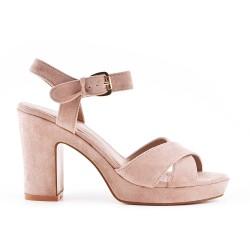 Sandale rose en simili daim à brides croisées