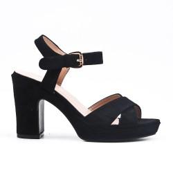 Sandale noire en simili daim à brides croisées