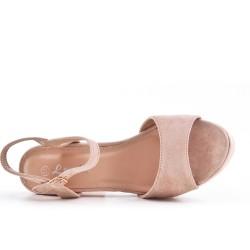 Sandale rose en simili daim