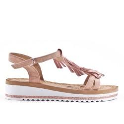 Sandale rose à frange