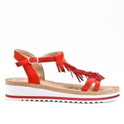 Sandale rouge à frange