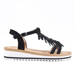 Sandale noire à frange